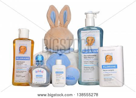 KIEV UKRAINE - October 14 2010. Illustrative editorial photo - Baby cosmetics isolated on white. A set natural hypoallergenic cosmetics for infant - Bebe Klorane