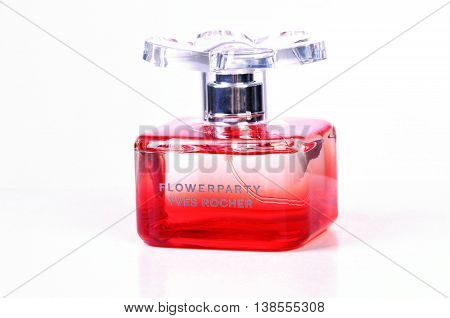 KIEV UKRAINE - June 13 2012. Illustrative editorial photo - eau de parfum (perfume) FlowerParty Yves Rocher