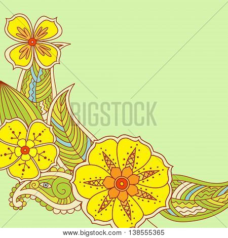 Colorful flowers in Mehendi style on green background. Vector illustration