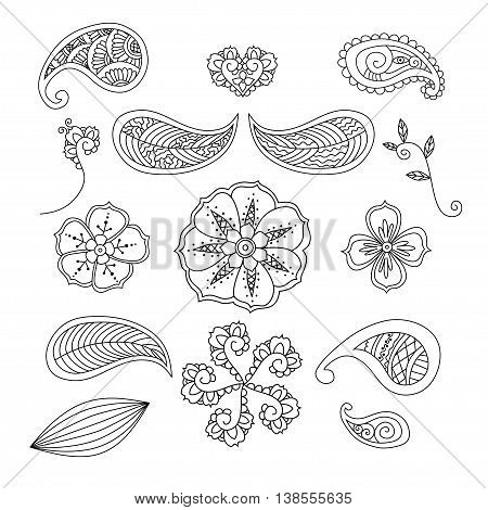 Monochrome set of Mendie elements on white background. Vector illustration