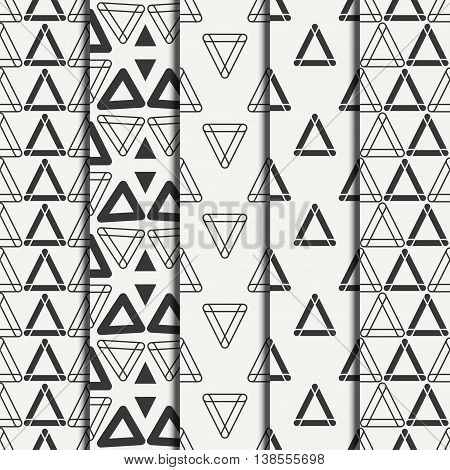 Set of geometric line monochrome abstract hipster seamless pattern with triangle. Wrapping paper. Scrapbook paper. Tiling. Vector illustration. Background. Graphic texture for design, wallpaper.