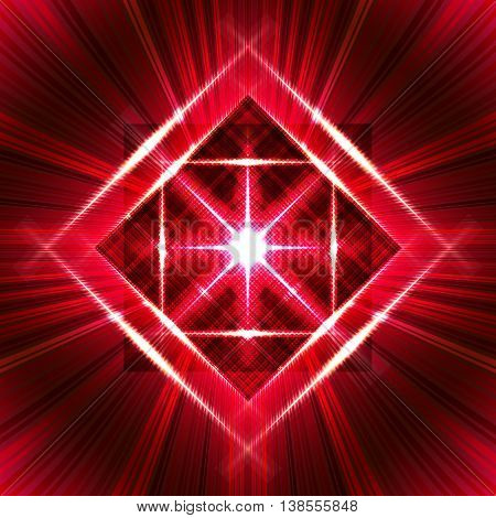 Flash with light frame and radial rays. Beautiful burgundy psychedelic vector background. Bright red pattern