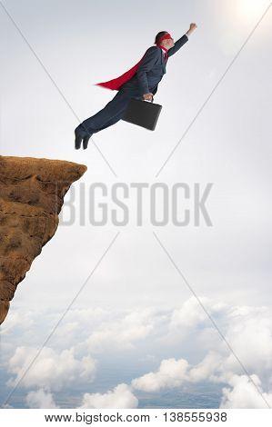 business success challenge concept superhero businessman flying