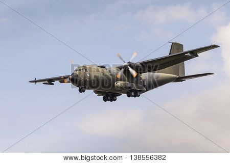 FRANKFURT GERMANY - JULY 12 2016: German Air Force Transall C-160 Military aircraft approaching Frankfurt Main international airport