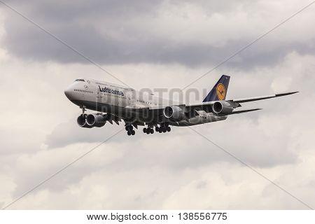 FRANKFURT GERMANY - JULY 12 2016: Boeing 747 from the Lufthansa airline landing at the Frankfurt Main international airport