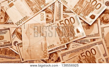 Close Up Background Of Ddollars And Euro Banknotes