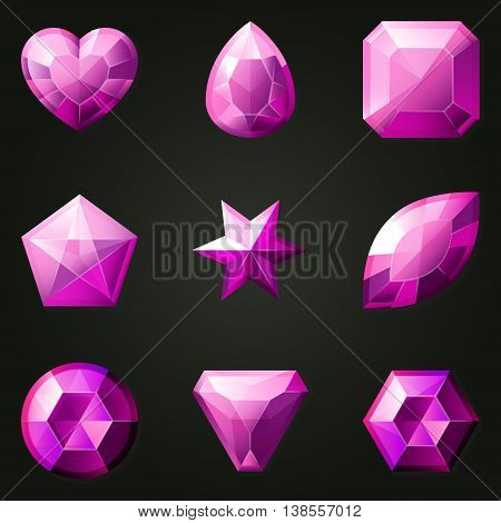 Set of gemstones with different shapes. Set of jewels with different facet