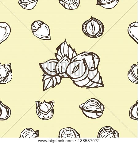Hazelnut seamless pattern. Useful for ads signboards packaging menu design interior decorating and other design.