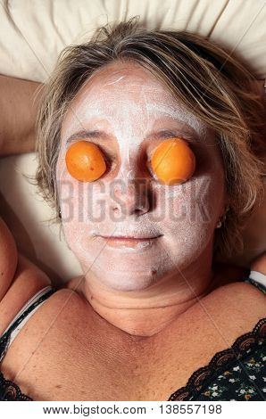 beauty facial mask Portrait of caucasian Middle-aged woman