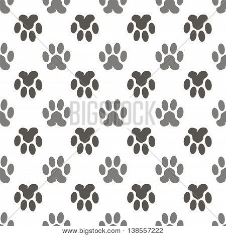 Vector Seamless Cat Animal Paw Pattern. Print of Paw Background