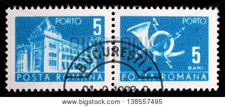 ZAGREB, CROATIA - JULY 19: A stamp printed in Romania shows Central Post Office building (National museum of Romanian history now), circa 1967, on July 19, 2012, Zagreb, Croatia