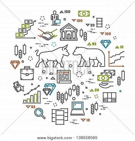 Vector linear banner for commodity exchange. Modern line concept stock market. Open path.