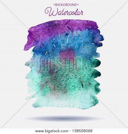 Abstract hand paint watercolor background ,vector illustration, stain watercolors colors on wet paper. Watercolor composition for scrapbook elements or print.