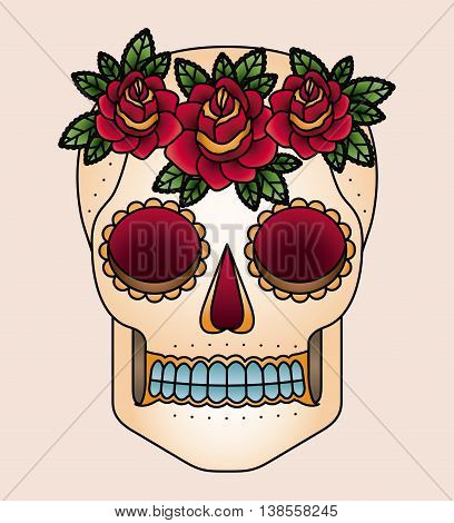 skull and flowers tattoo isolated icon design, vector illustration  graphic