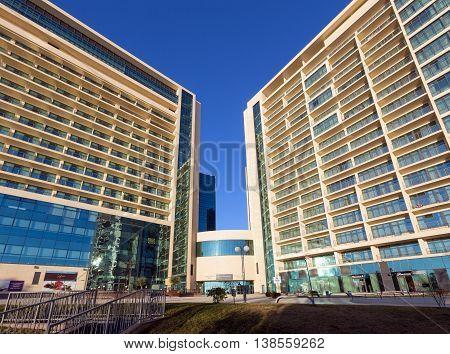 Sochi, Russia - February 10 2016: Multi-storey hotel complex Pullman Sochi Centre