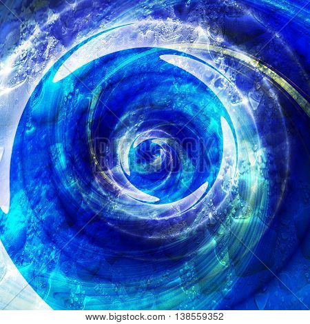 Abstract rotating swirling background with water drops. Blue, white and turquoise background with splashes of water
