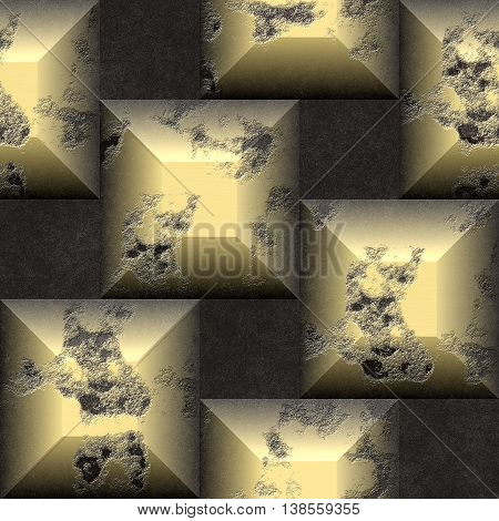 Abstract seamless relief pattern of gold and black scratched beveled cubes. 3d weathered mosaic pattern on a black grained background