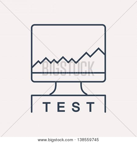 logo or label PC upgrading. Line style logotype template with CPU test. Easy to use business template. Vector abstract emblem.