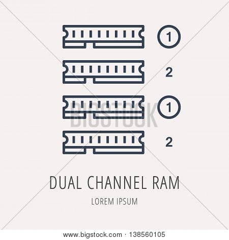 logo or label PC upgrading. Line style logotype template with dual channel ram. Easy to use business template. Vector abstract emblem.