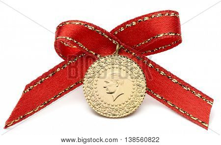 1/2 Turkish Gold Coin Isolated