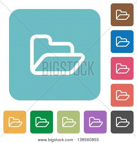 Flat open folder symbol icons on rounded square color backgrounds.