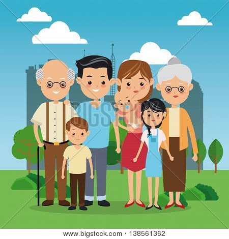 Family cartoon concept represented by grandparents, parents and kids icon over city landscape.  Colorfull illustration