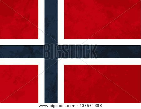 True proportions Norway flag with grunge texture