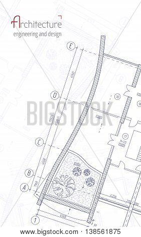Architectural vector background. Blue building plan silhouette and logo architecture, engineering and design company.
