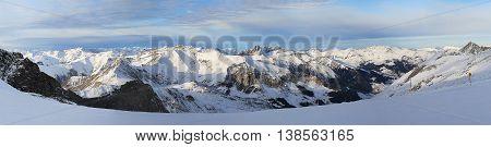 Panorama of Hintertux Glacier in Ziilertal Alps. Austria