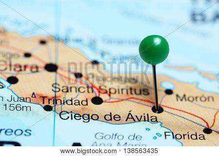 Ciego de Avila pinned on a map of Cuba