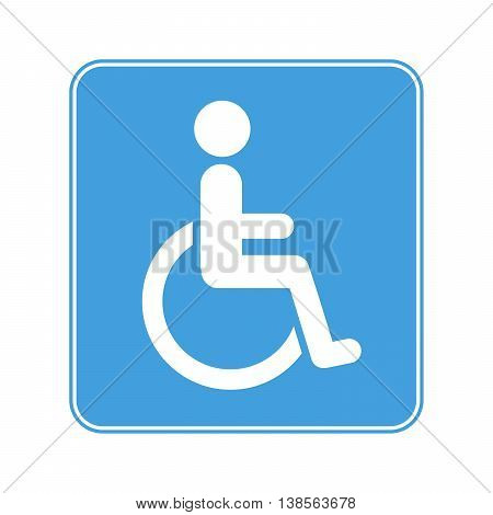 Colour Disabled Wheelchair Sign isolated on white