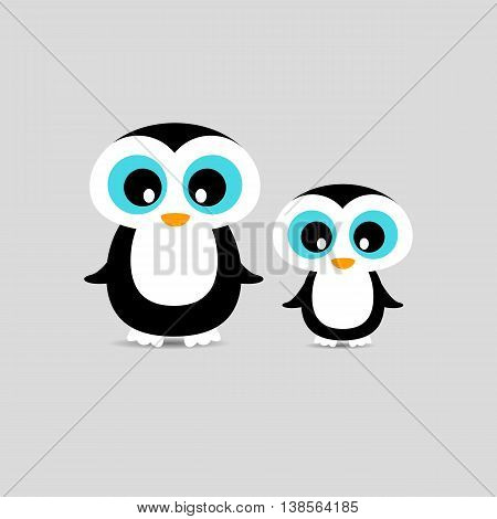 Cute penguins family Mother and Child Illustration standing at clear background.