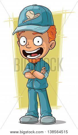 A vector illustration of cartoon redhead smiling baseball trainer