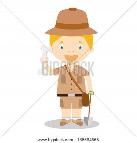 Cute cartoon vector illustration of an archaeologist