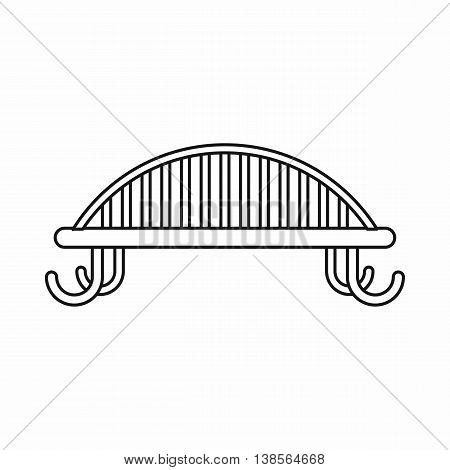 Bench with backrest icon in outline style. Seat symbol isolated vector illustration
