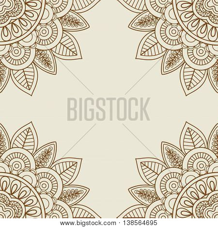 Indian doodle mehendi frame in vintage colors. Vector illustration