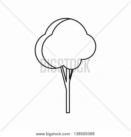 Fluffy tree icon in outline style. Plants and nature symbol isolated vector illustration