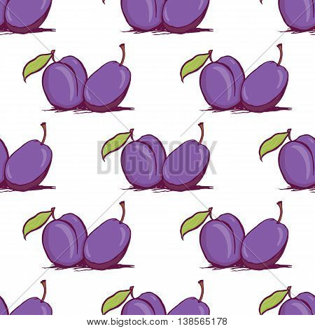 Appetizing plum sketch style vector seamless pattern on white background. Background of hand drawn fresh ripe purple plums for textile backdrop wrap cover web