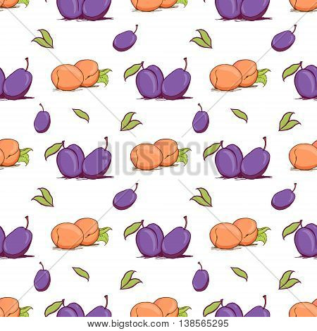 Appetizing plum and apricot sketch style vector seamless pattern on white background. Background of hand drawn fresh ripe purple plums and orange apricots for textile backdrop wrap cover web