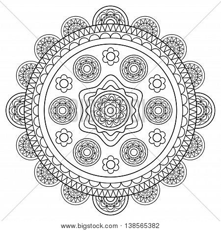 Round floral hand drawn rosette in black and white. Vector illustration