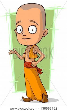 A vector illustration of cartoon young Buddhist boy