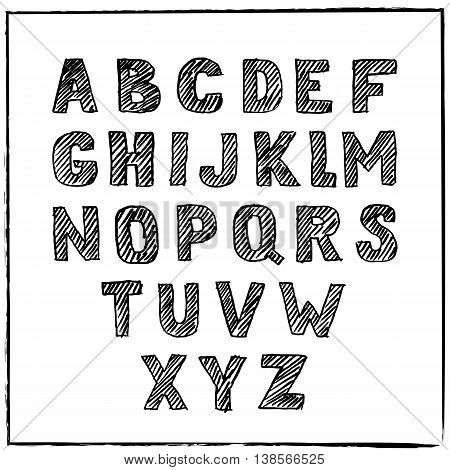 Vector Hand Drawn Sketch Alphabet. Ink Scratched Font. Hatching