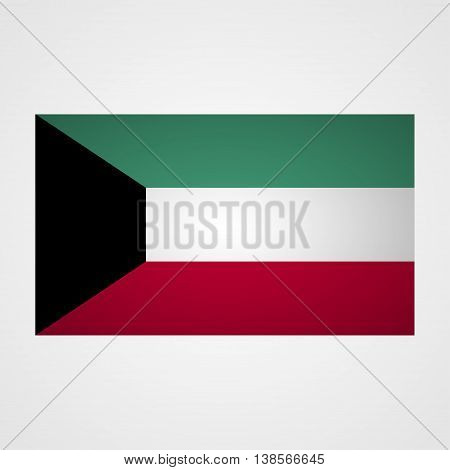 Kuwait flag on a gray background. Vector illustration