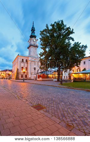Town hall and the main square in the town of Kezmarok, Slovakia.
