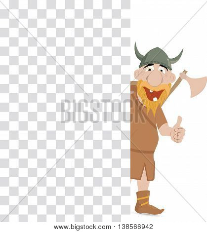 Funny cartoon viking with thump up emerge from the checkerboard.