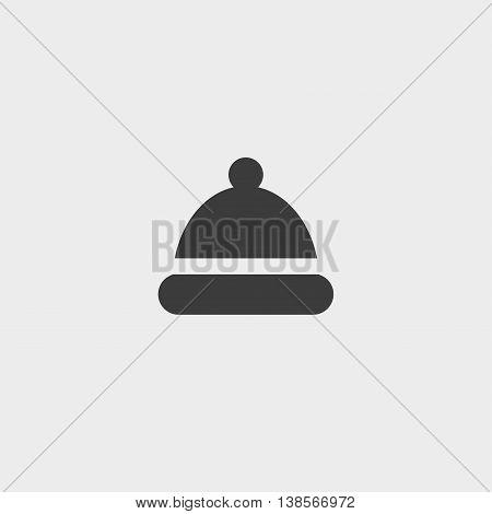 Winter snowboard cap icon in a flat design in black color. Vector illustration eps10