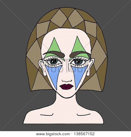 Beautiful girl with abstract makeup on the face can be used as a card of beauty shop and other salon. Multicolor art element for adult coloring book page design.