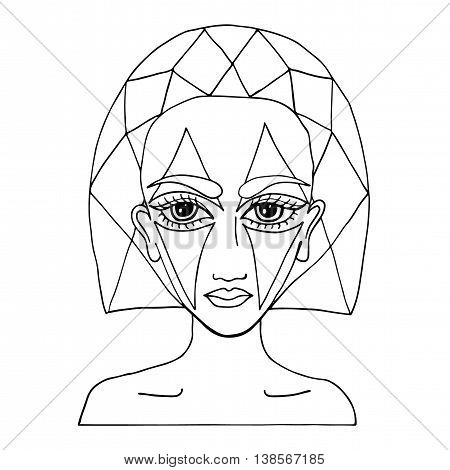 Portrait of a beautiful girl with abstract makeup on the face can be used as a card of beauty shop and other salon. Mono color black line art element for adult coloring book page design.