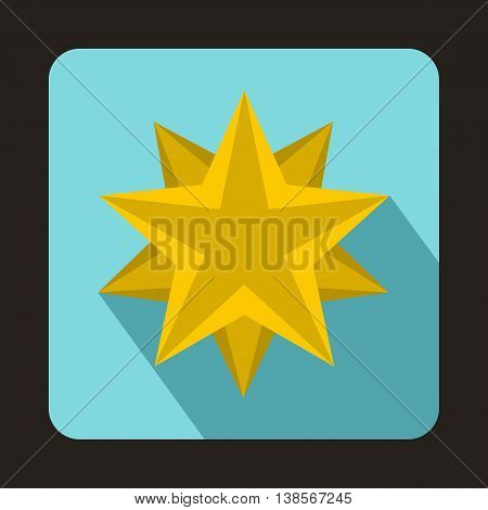 Ten pointed star icon in flat style on a baby blue background