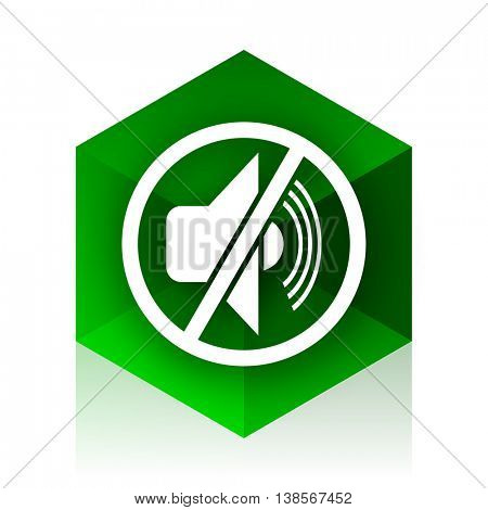 mute cube icon, green modern design web element